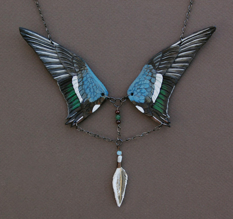 Northern Shoveler Wings - Leather Necklace by windfalcon