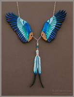 Lilac Breasted Roller Wings - Leather Necklace
