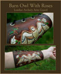 Barn Owl With Roses - Leather Archery Arm Guard