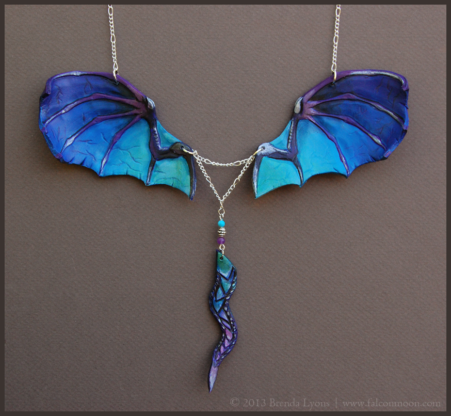 Blue Dragon Wings - Leather Necklace by windfalcon