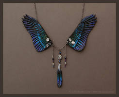 Dusk Raven - Leather Wing Necklace