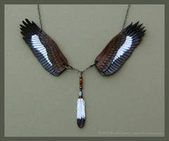 Golden Eagle Wings - Leather Necklace by windfalcon