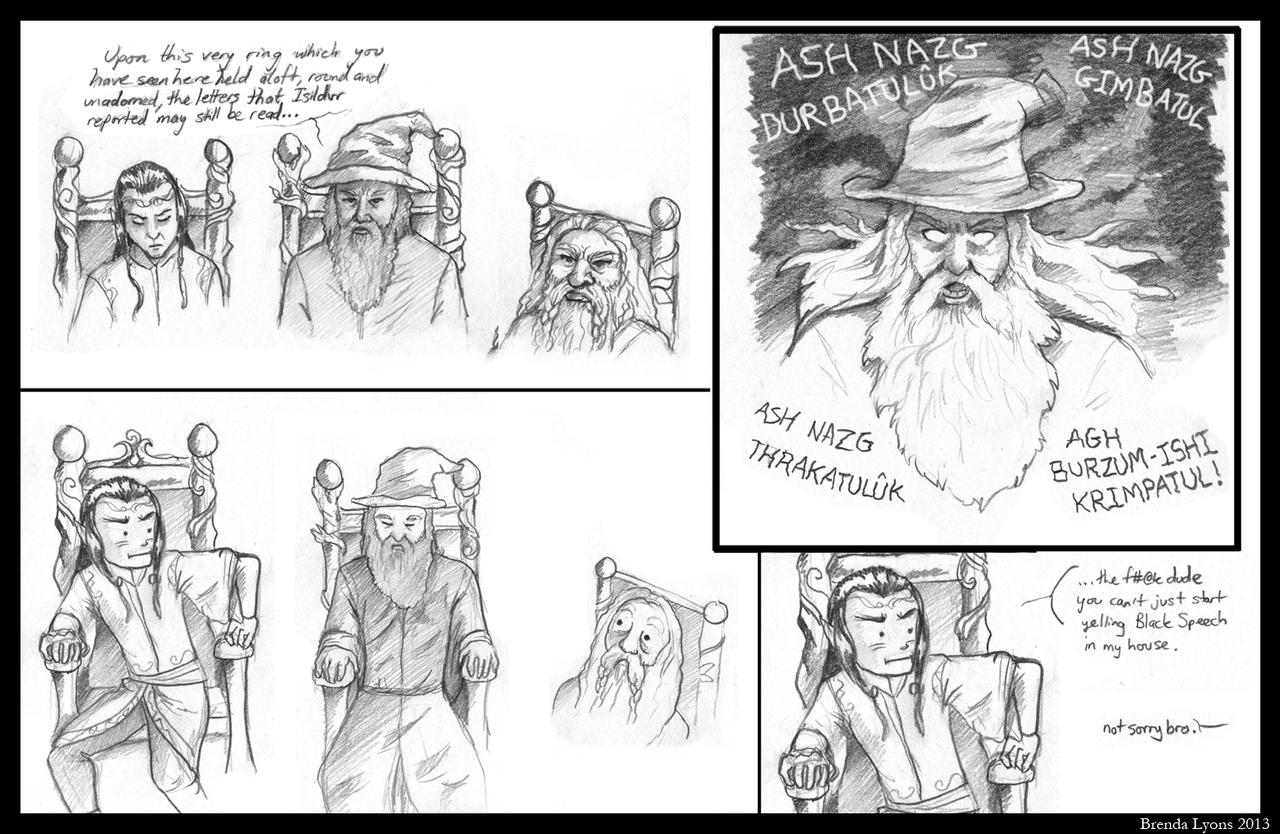 Gandalf's a Troll in the House of Elrond by windfalcon