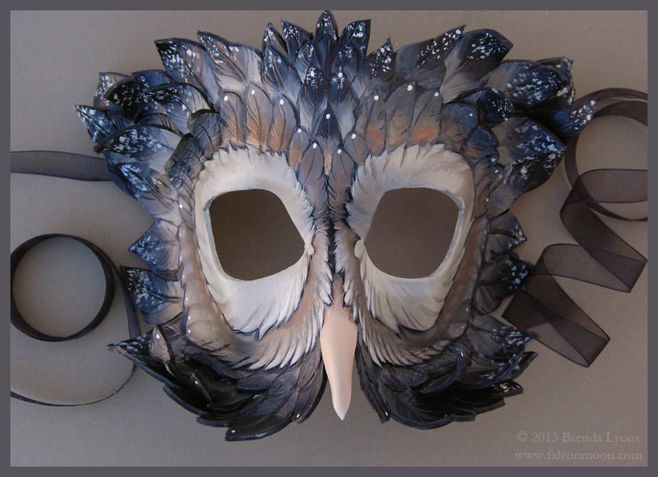 Dusky Starlight Owl - Leather Mask by windfalcon