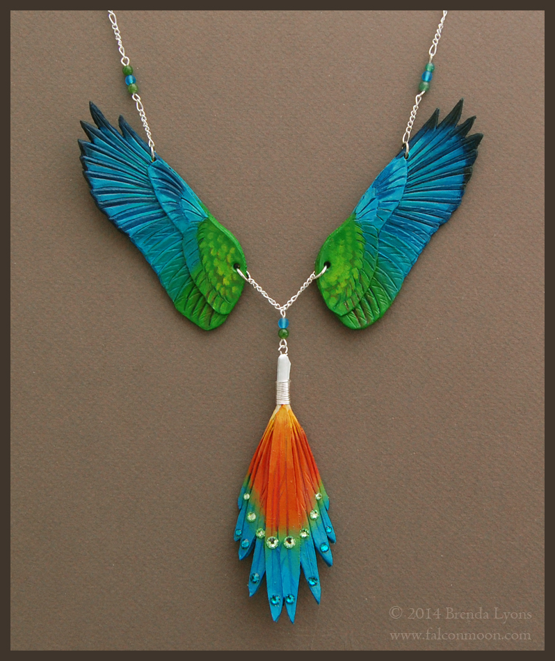 Golden Collared Macaw - Leather Wing Necklace by windfalcon