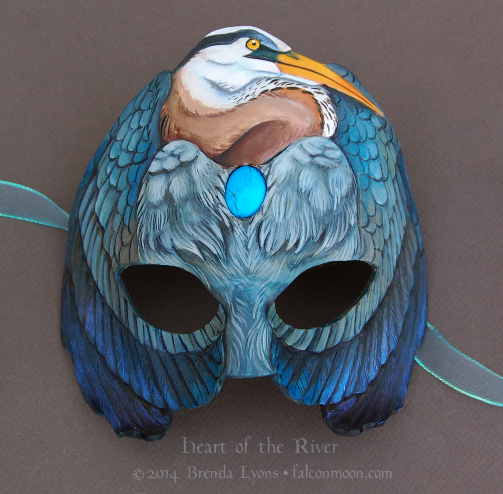 Heart of the River - Leather Great Blue Heron Mask by windfalcon