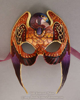 Gold Knotwork Falcon - Leather Mask with Stone