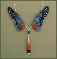 American Kestrel Wings II - Leather Necklace by windfalcon