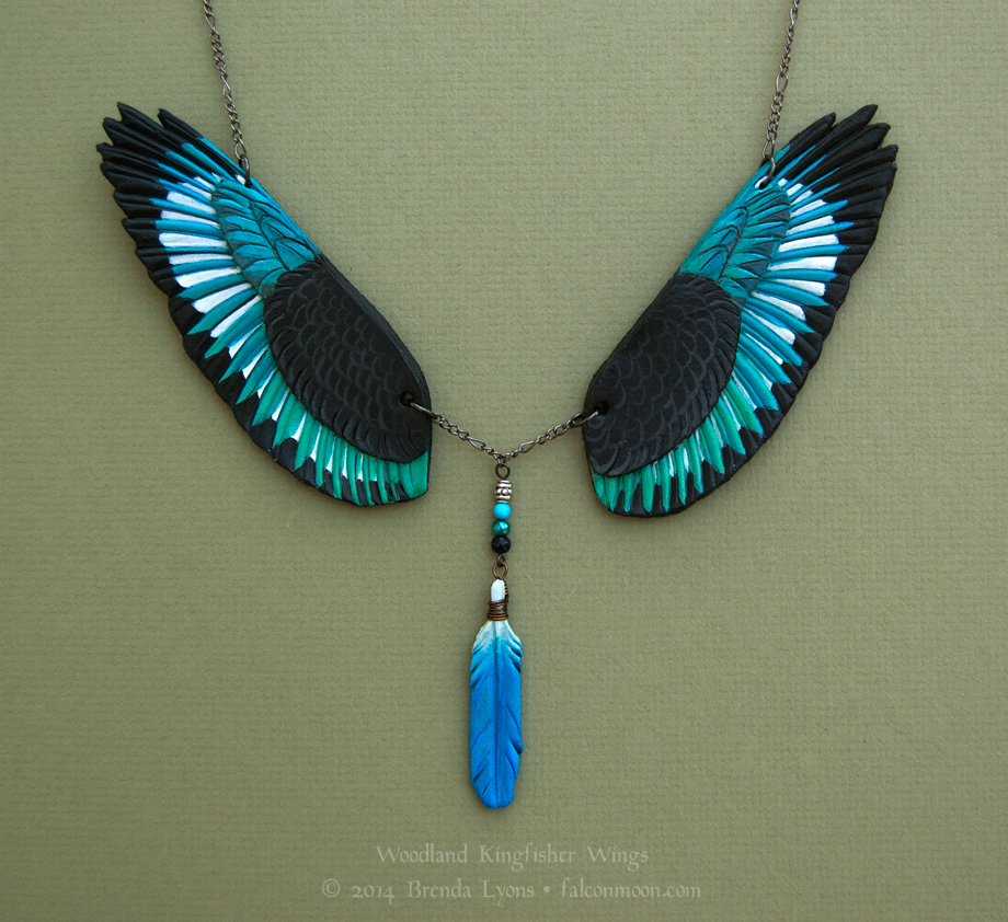 Woodland Kingfisher Leather Wings Necklace by windfalcon