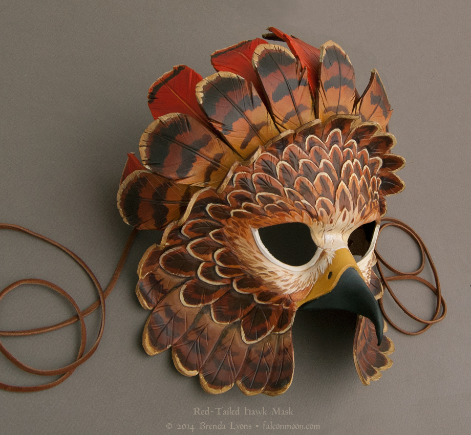 Fantasy Red-Tailed Hawk - Leather Mask by windfalcon