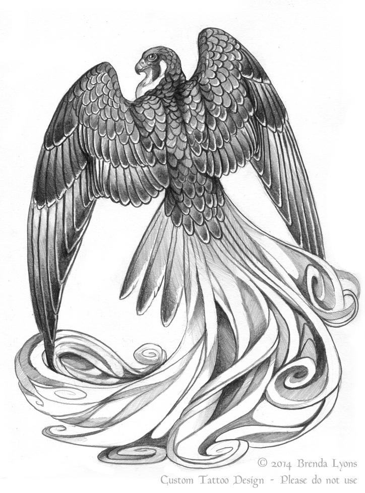 Stylized Fantasy Falcon Tattoo Design by windfalcon