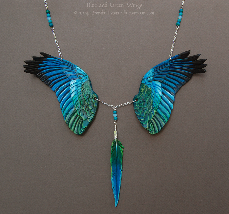 blue and green wings leather necklace by windfalcon on