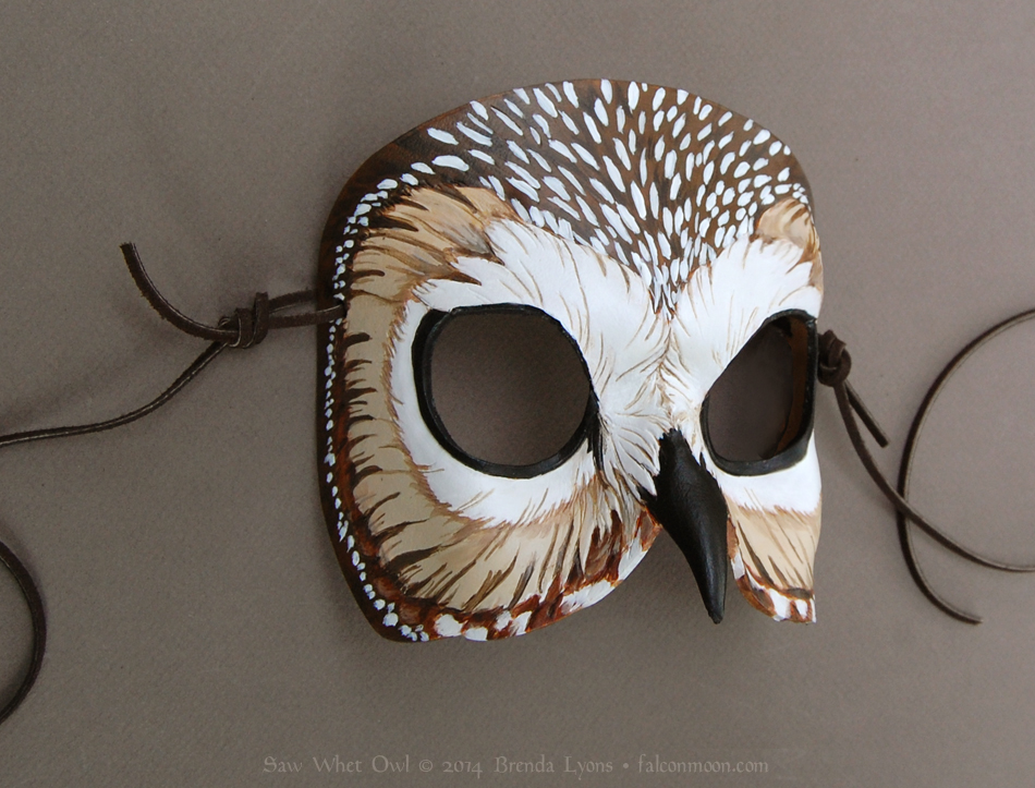 Saw-Whet Owl - Leather Mask by windfalcon