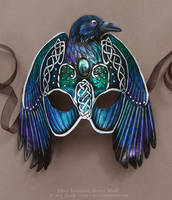 Silver Knotwork Raven - Leather Mask by windfalcon