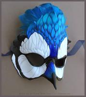 Jeweled Blue Jay - Leather Mask by windfalcon