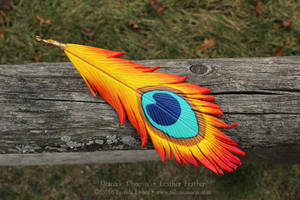 Peacock Phoenix - Leather Feather