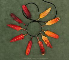 Ten Leather Phoenix Feather Pendants