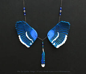 Blue Jay Wings II - Leather Necklace