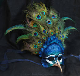 Royal Peacock - Leather and Feather Mask by windfalcon