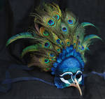 Royal Peacock - Leather and Feather Mask
