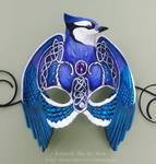 Knotwork Blue Jay - Leather Mask