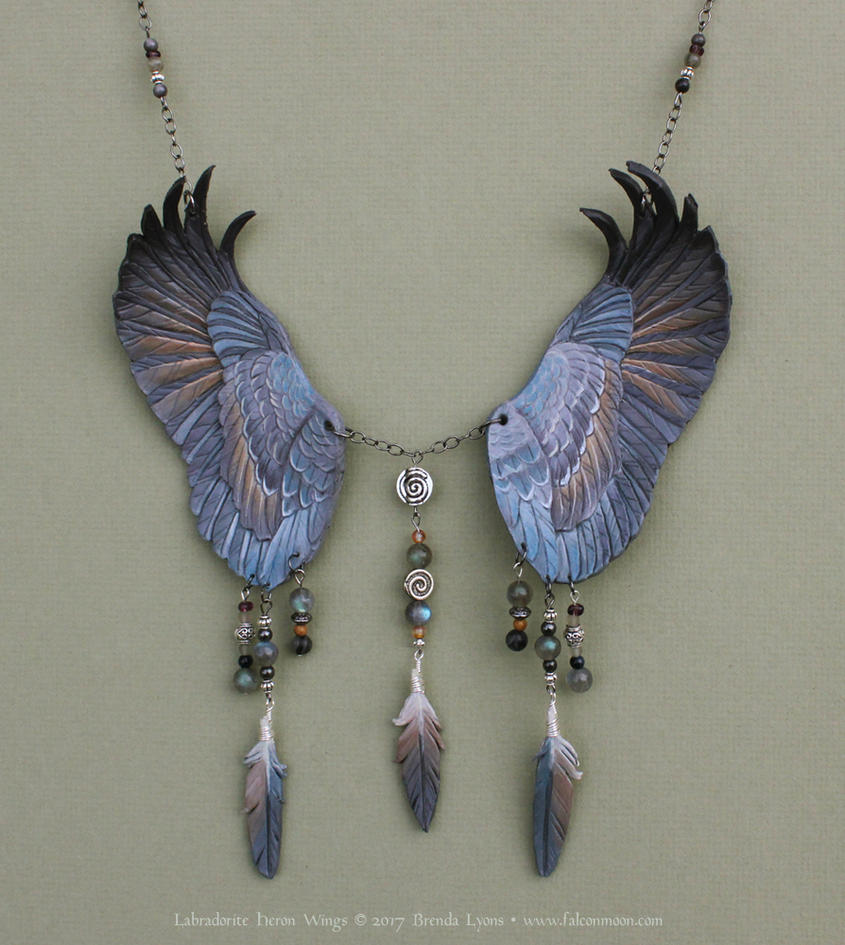 Labradorite Heron - Leather Wings Necklace by windfalcon