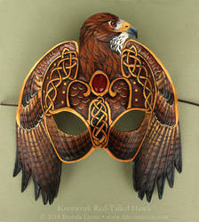 Knotwork Red-Tailed Hawk Leather Mask by windfalcon