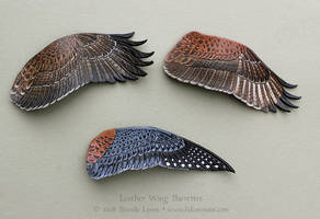 Three Leather Wing Barrettes