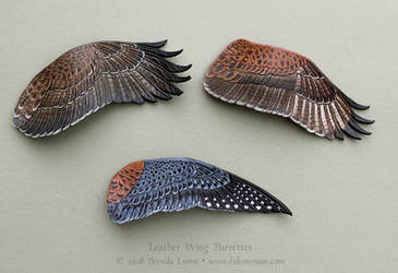 Three Leather Wing Barrettes by windfalcon
