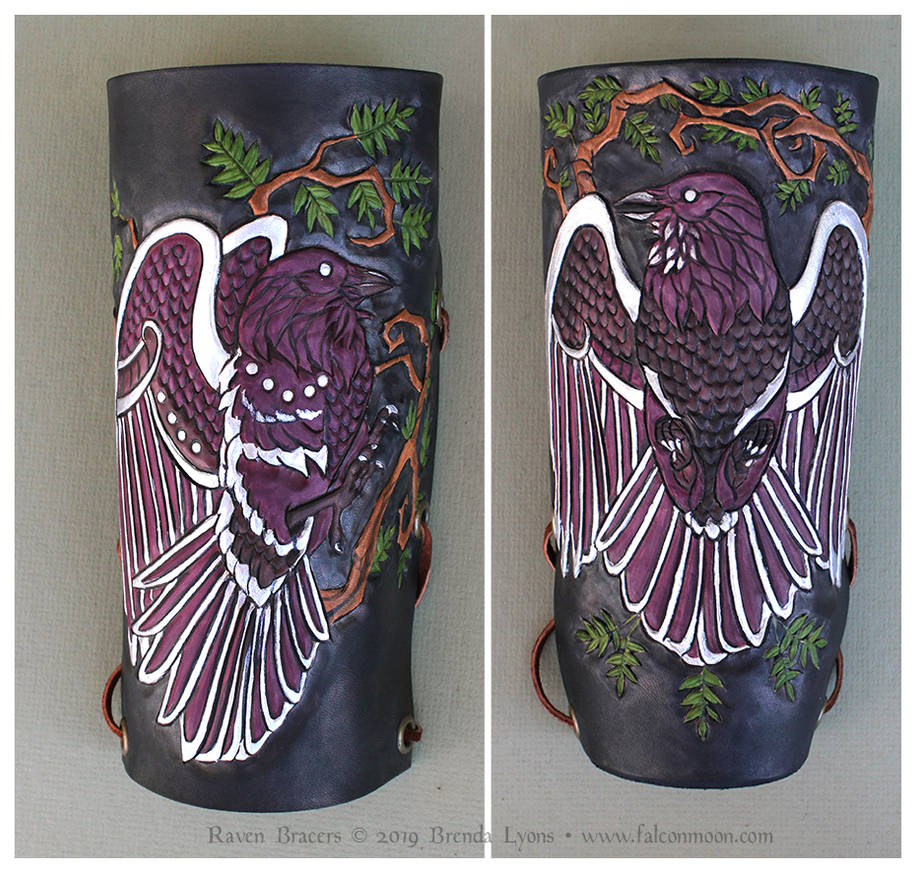 Leather Raven Bracers by windfalcon