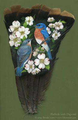 Bluebirds with Dogwood