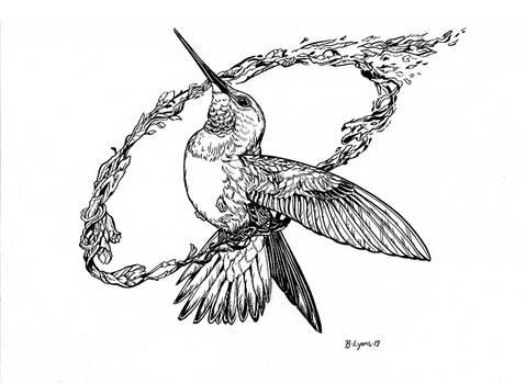 Inktober Day 1: Hummingbird Ring