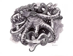 Inktober Day 7: Enchanted Octopus by windfalcon