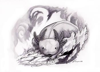 Inktober Day 13: Ash Axolotl