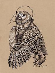 Inktober Day 14: Overgrown Blakiston's Fish Owl