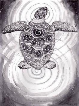 Inktober Day 15: Sea Turtle Legend