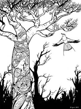 Inktober Day 16: Wild Baobab Tree