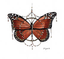 Inktober Day 17: Monarch Ornament