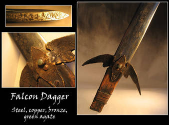 Steel and Bronze Falcon Dagger by windfalcon