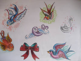 bird, swallows tattoo flash by Ivy9