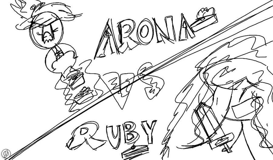 Arona VS Ruby (100th drawing!) by Kittygreenfox67