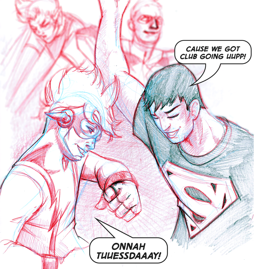 Impulse-and-Superboy-on-a-tuesday by Julianlytle