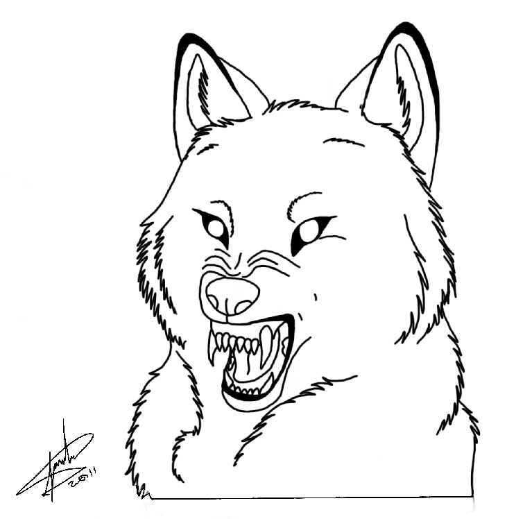 Easy wolf face drawing