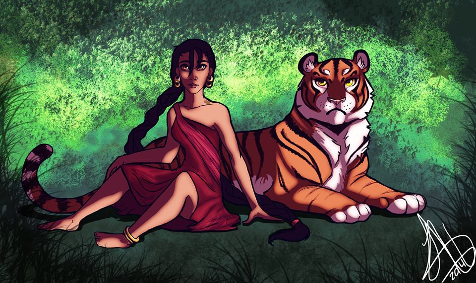 the girl and the tiger by juanitawolf