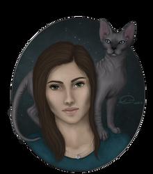 Cat on shoulder by Domitka