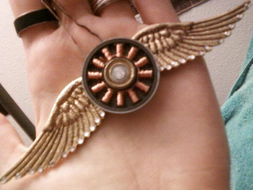 Steampunk Winged Pendant by SymzTew