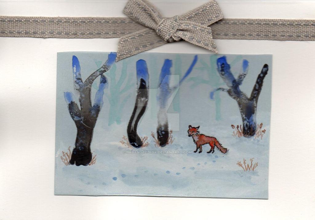 Fox on snow by UrbanJazzFox
