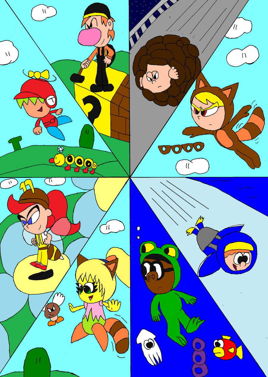 all 8 with mario powerups by tman5636 on deviantart