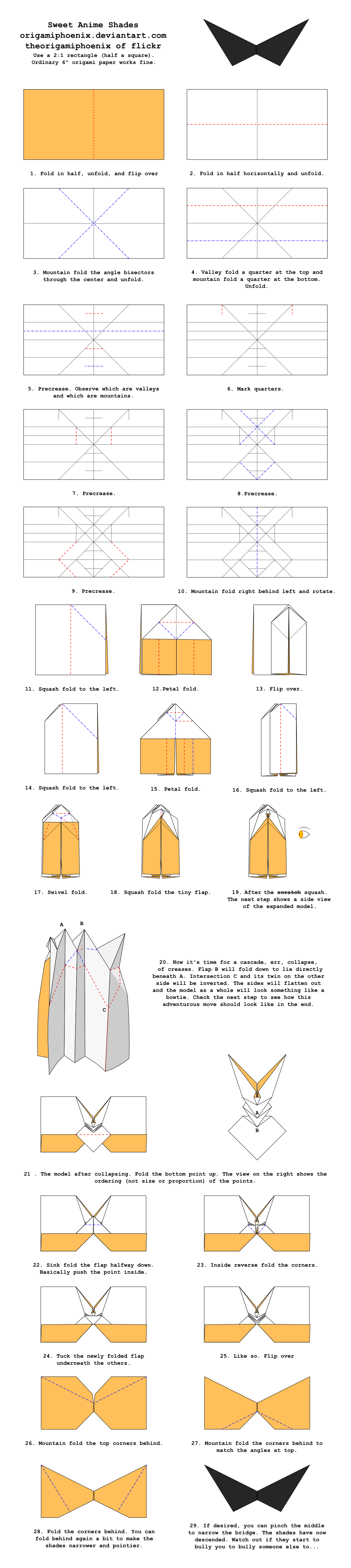 origami sweet anime shades diagrams by origamiphoenix on deviantart rh origamiphoenix deviantart com Jeremy Shafer Easy Flasher Octahedron Origami Folding Diagrams