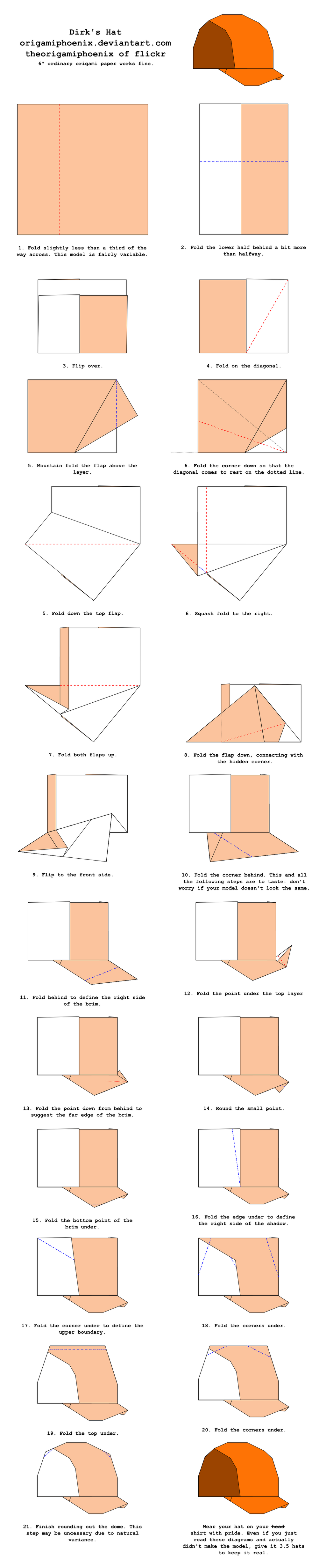 Origami Dirk's Hat Diagrams by OrigamiPhoenix on DeviantArt - photo#33